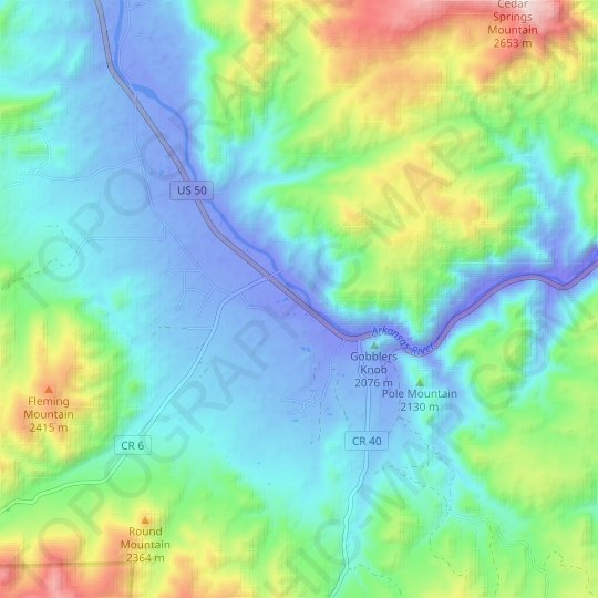 Pleasanton topographic map, relief map, elevations map