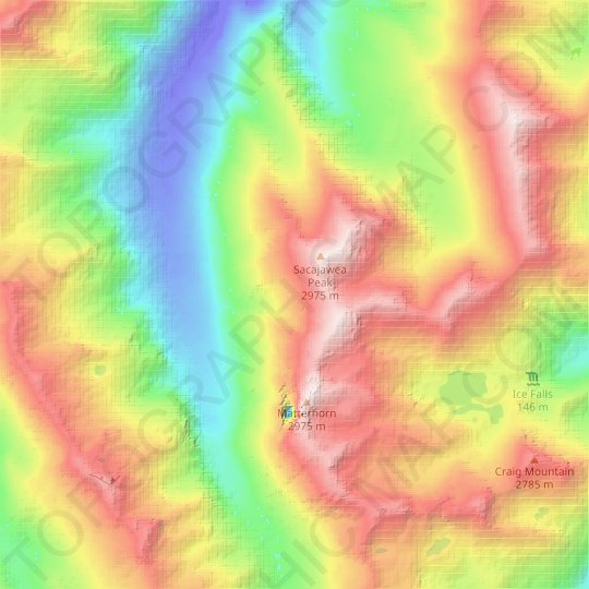 Wallowa Mountains topographic map, relief map, elevations map