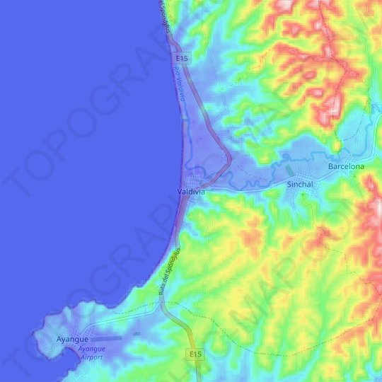 Valdivia topographic map, relief map, elevations map