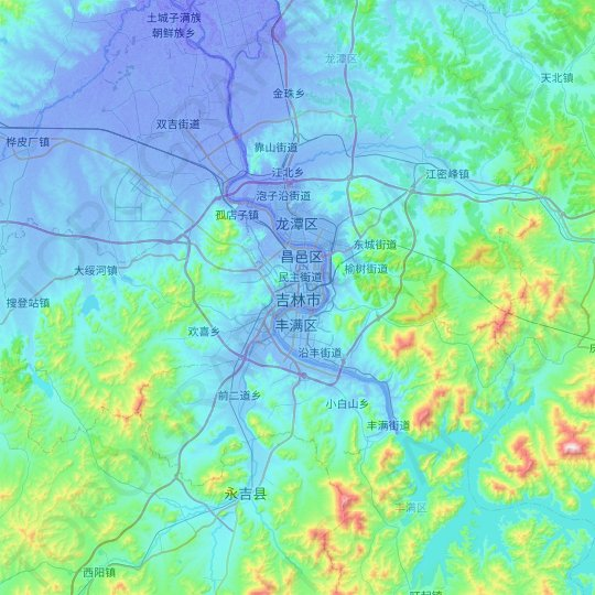 Jilin topographic map, relief map, elevations map