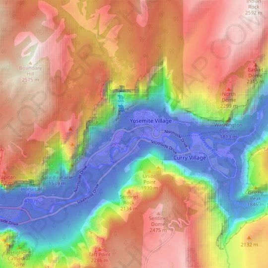 Yosemite Valley topographic map, relief map, elevations map