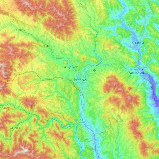 Prešov topographic map, relief map, elevations map