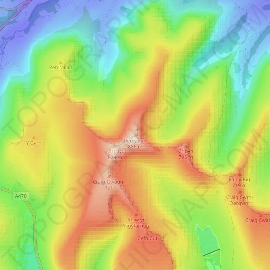 Pen y Fan topographic map, relief map, elevations map