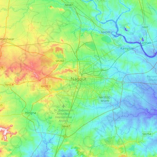 Nagpur topographic map, relief map, elevations map