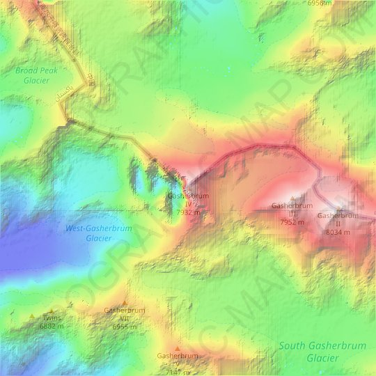 Gasherbrum IV topographic map, relief map, elevations map