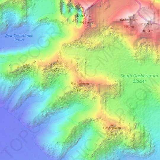 Gasherbrum V topographic map, relief map, elevations map