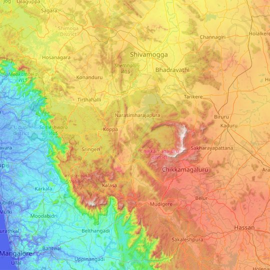 Chikmagalur topographic map, relief map, elevations map
