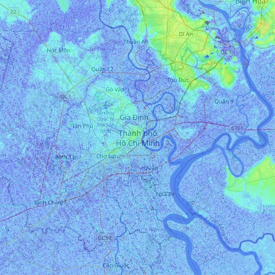 Ho Chi Minh City topographic map, relief map, elevations map
