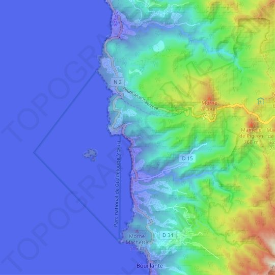 Malendure topographic map, relief map, elevations map