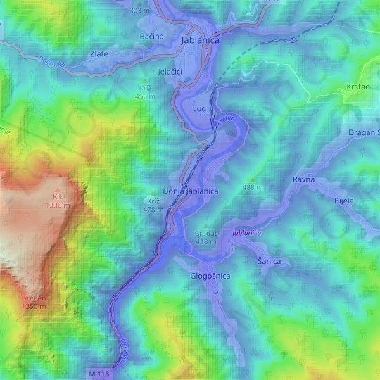 Donja Jablanica topographic map, relief map, elevations map