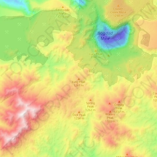 King Peak topographic map, relief map, elevations map