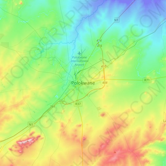Polokwane topographic map, relief map, elevations map