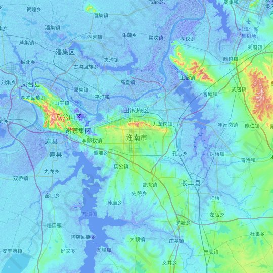 Huainan topographic map, relief map, elevations map
