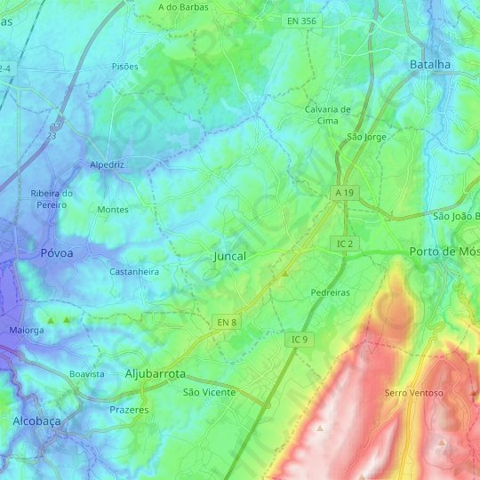 Juncal topographic map, relief map, elevations map