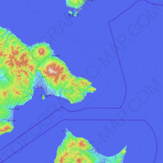 Hakodate topographic map, relief map, elevations map