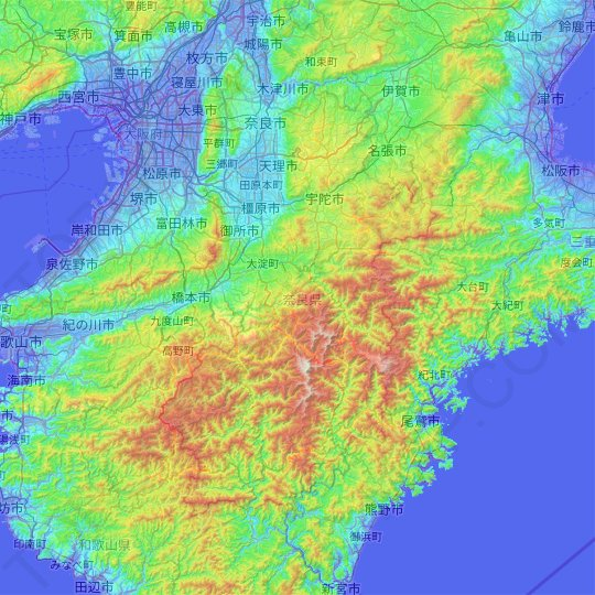 Kinki Region topographic map, relief map, elevations map