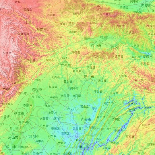 Jialing River topographic map, relief map, elevations map