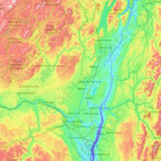Saratoga County topographic map, relief map, elevations map