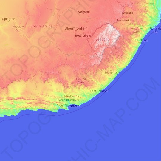 Eastern Cape topographic map, elevation, relief