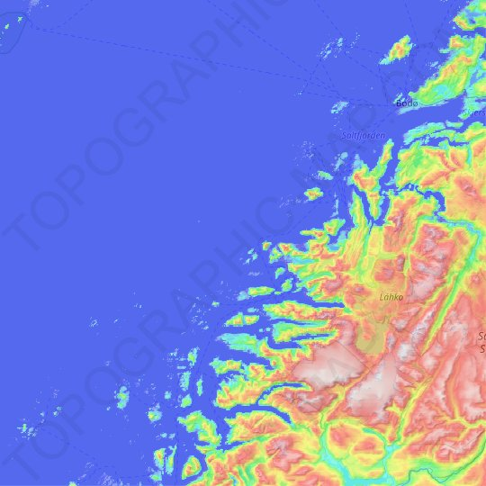 Nordland topographic map, elevation, relief
