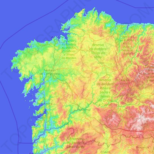 Galicia topographic map, elevation, relief