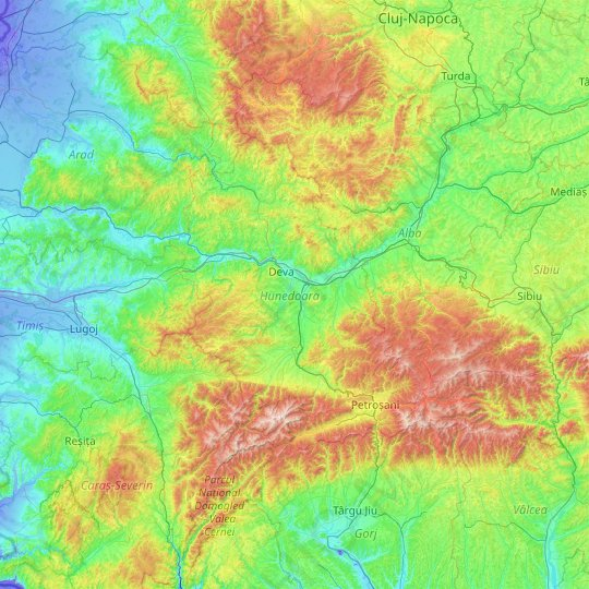 Hunedoara topographic map, relief map, elevations map