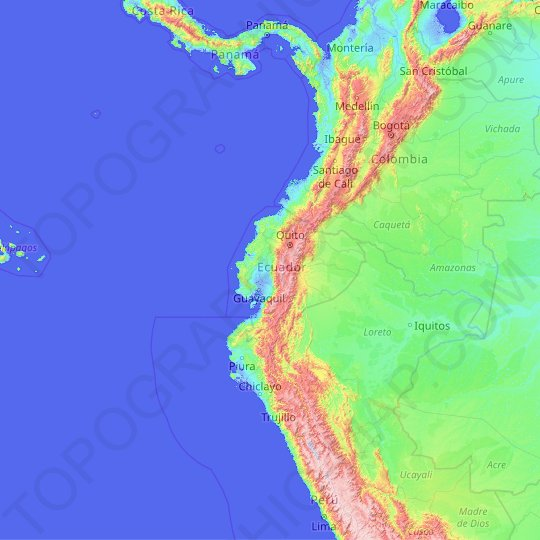 Ecuador topographic map, elevation, relief