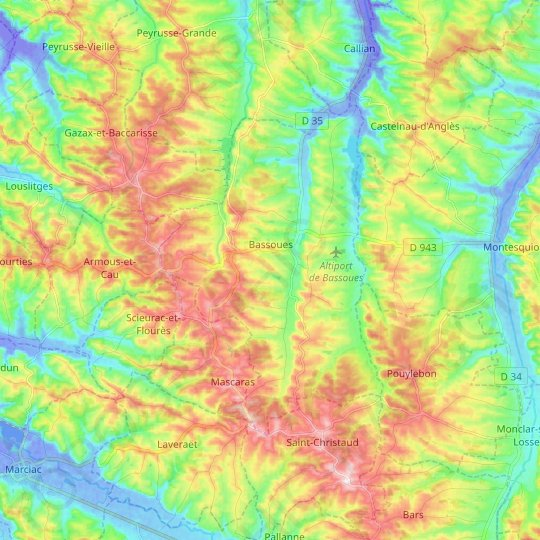 Bassoues topographic map, relief map, elevations map