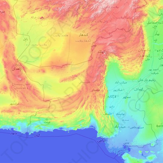 Balochistan topographic map, elevation, relief