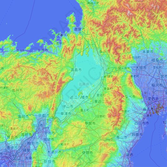 Kinki Region topographic map, elevation, relief