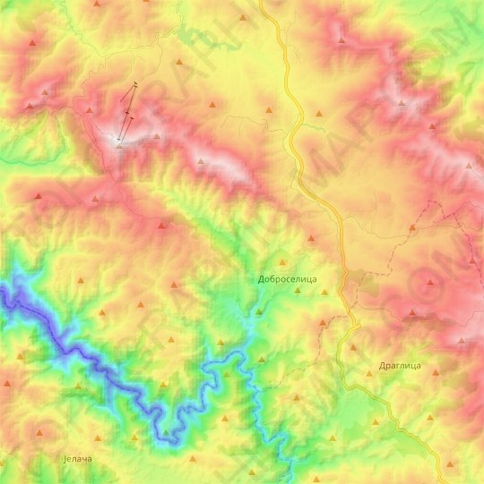Dobroselica topographic map, elevation, relief