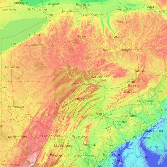Pennsylvania topographic map, elevation, relief