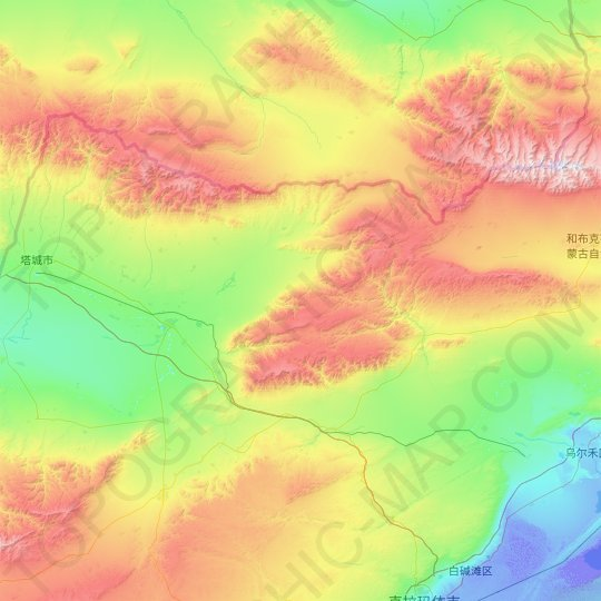 Emin County topographic map, relief map, elevations map