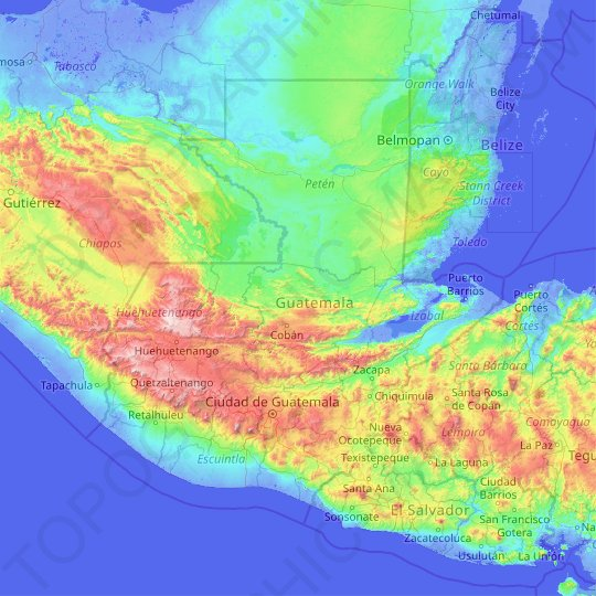 Guatemala topographic map, elevation, relief