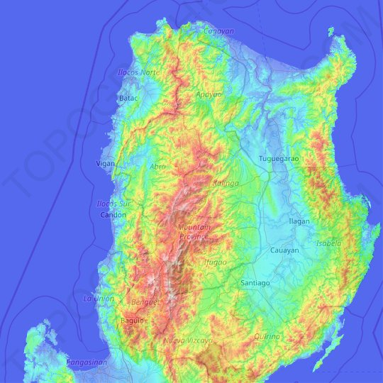 Cordillera Administrative Region topographic map, relief map, elevations map