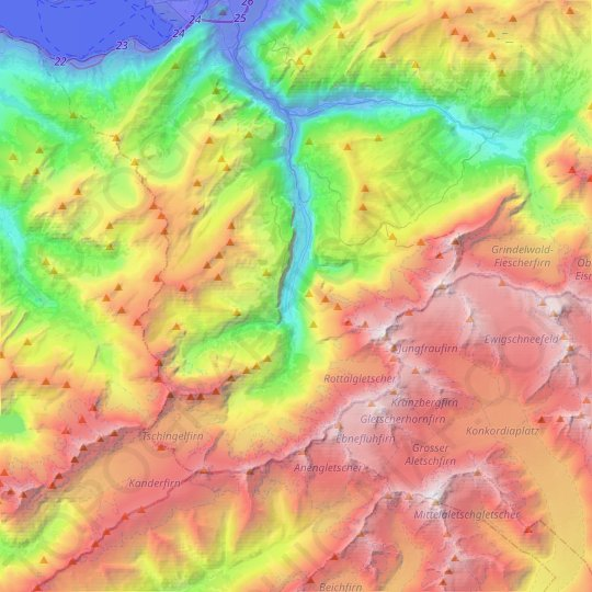 Lauterbrunnen topographic map, relief map, elevations map