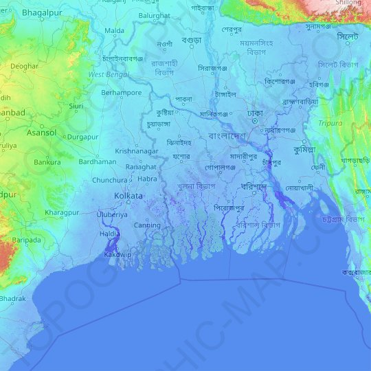 Khulna Division topographic map, relief map, elevations map
