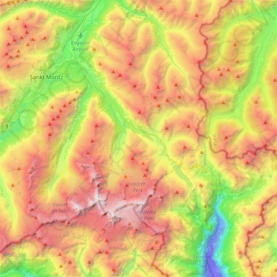 Pontresina topographic map, relief map, elevations map