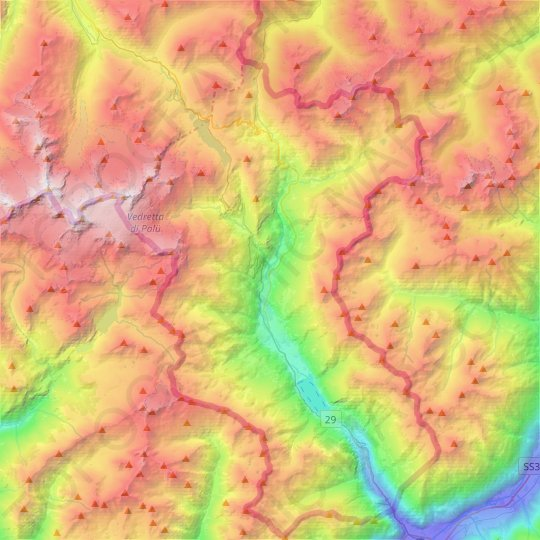 Poschiavo topographic map, relief map, elevations map