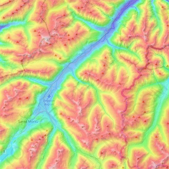 Madulain topographic map, relief map, elevations map