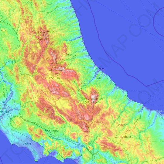 Abruzzo topographic map, relief map, elevations map