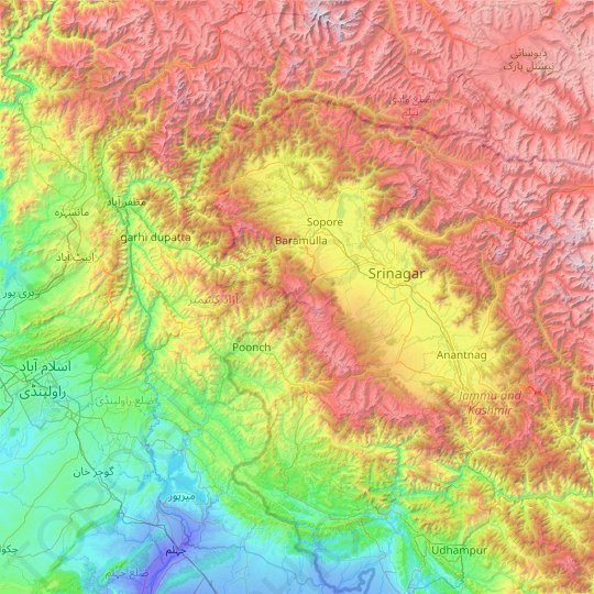 Azad Jammu and Kashmir topographic map, relief map, elevations map