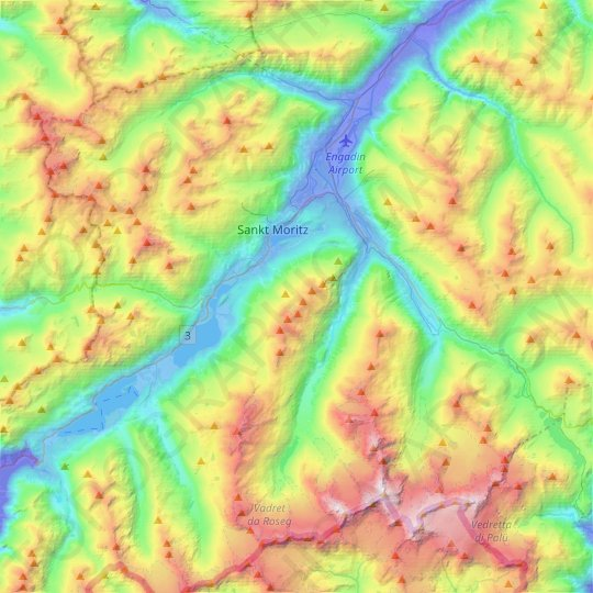 Samedan topographic map, relief map, elevations map