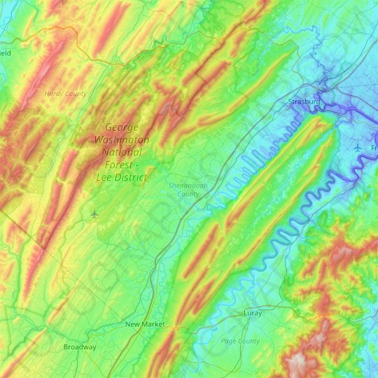 Shenandoah County topographic map, relief map, elevations map