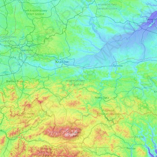 Lesser Poland Voivodeship topographic map, elevation, relief