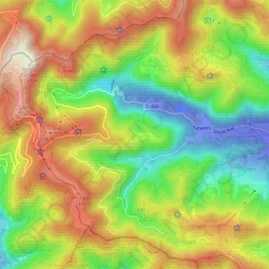 Sewen topographic map, elevation, relief