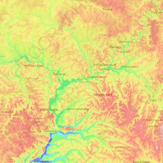 Tatarstan topographic map, elevation, relief