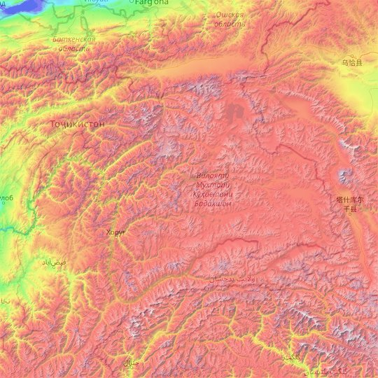 Gorno-Badakhshan Autonomous Region topographic map, relief map, elevations map