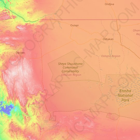 Omusati topographic map, relief map, elevations map