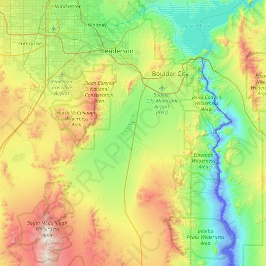 Boulder City topographic map, relief map, elevations map